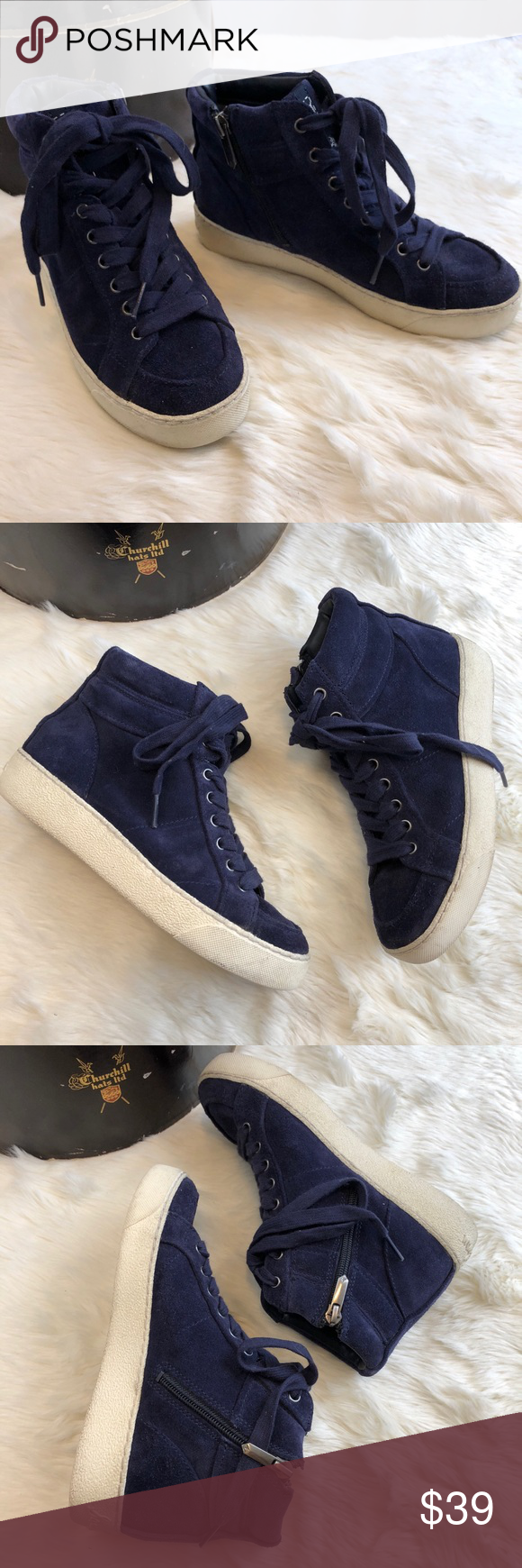 3841d6bcbaa818 SAM EDELMAN Britt Blue Suede High Top Sneakers Perfect fall winter sneaker  that s fashionable and warm. US 5 Previously worn with signs of wear on  soles.