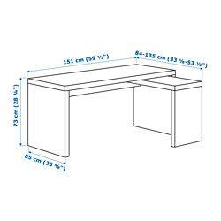 MALM Bureau avec tablette coulissante blanc Ikea malm Surface