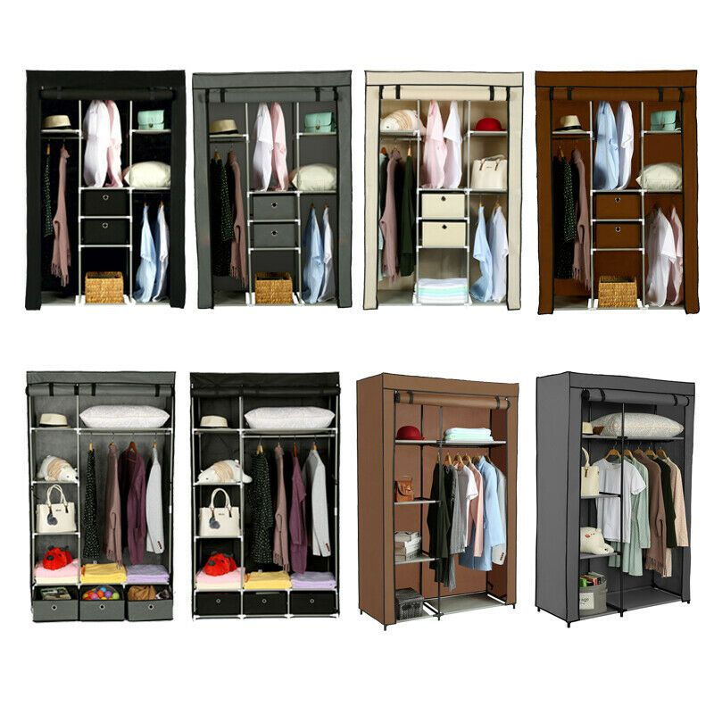 Details About Portable Non Woven Wardrobe Clothes Shoes Organizer
