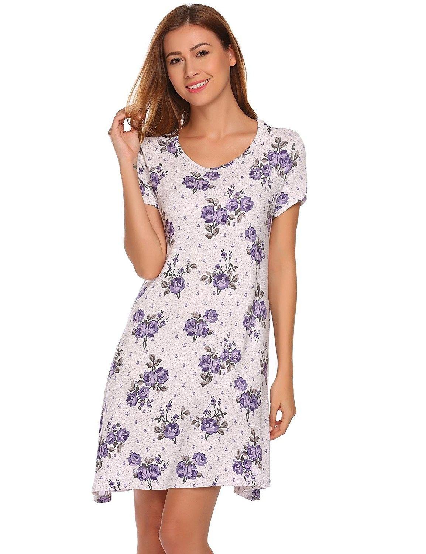 Women Plus Size Short Sleeve Cotton Nightgown Sleep Shirt Dress Casual Sleepwear
