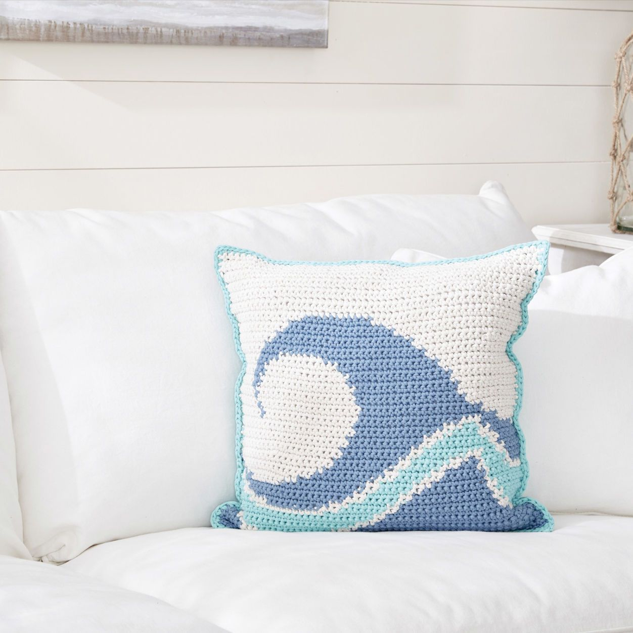 Bernat Catch A Wave Crochet Pillow Crochet Pillow Crochet Home Crochet Pillows