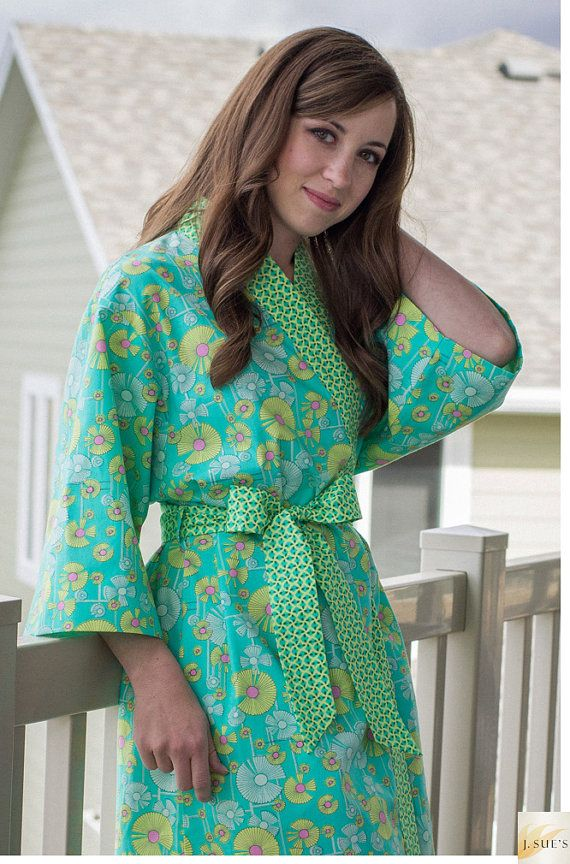7b9eb95fef5 Maternity Robe Cotton Kimono Robe Knee Length All sizes Hospital robe Cotton  Nursing Gown Baby shower Amy Butler aqua yellow pink on Etsy