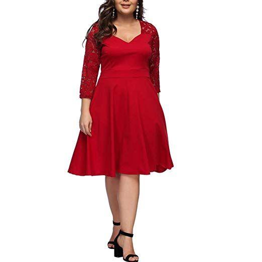 6cccc45db53 Women s Midi Swing Dress Plus Size Deep V 3 4 Sleeve Evening A-Line Dress