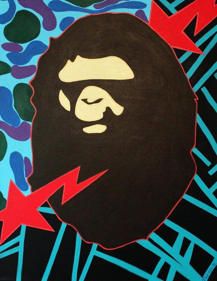 """GRAPE APE"" Tribute BAPE Painting (c)2012 Acrylic on"
