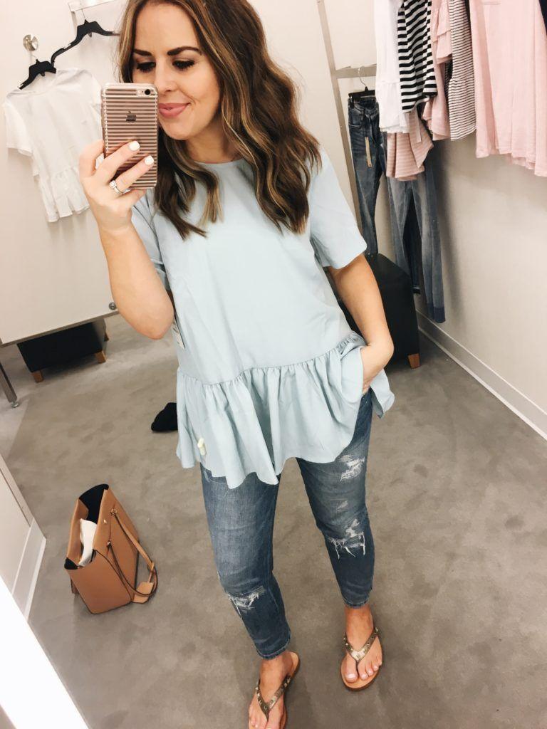 4296c5c52a dress cori lynn. Light blue peplum top+distressed jeans+golden flat  sandals+camel tote bag. Summer Casual Outfit 2017