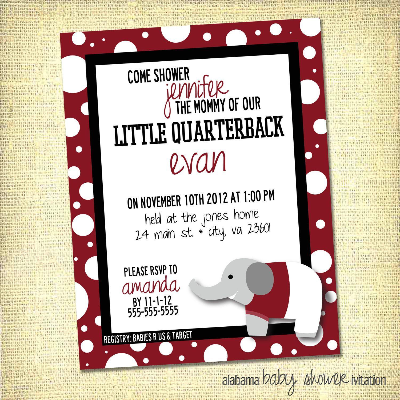 Baby Shower Invitation Alabama Crimson
