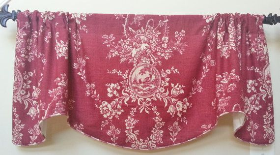 Country House Red by Wavery Window Valance / Lined, Corded Scalloped ...