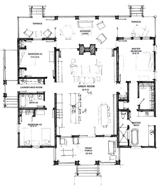 A Dog Trot Porch Plus A Second Great Room Would Make It Easier For Multiple Families To Share Dog Trot House Plans Dog Trot House Southern Living House Plans