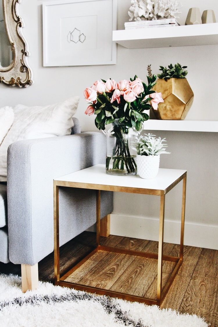 Could Have Nest Of Tables Like This Near Door And Have Art Or Shelves Or Hexagon Shelves Things Above With Plants O Home Living Room Home Decor Ikea Side Table