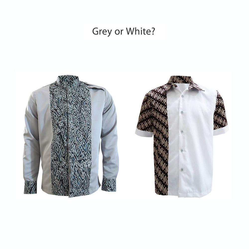 Baju Batik Kerja Cowok: Calm Colors Shirt, Grey N White Brown #kemejabatikmedogh