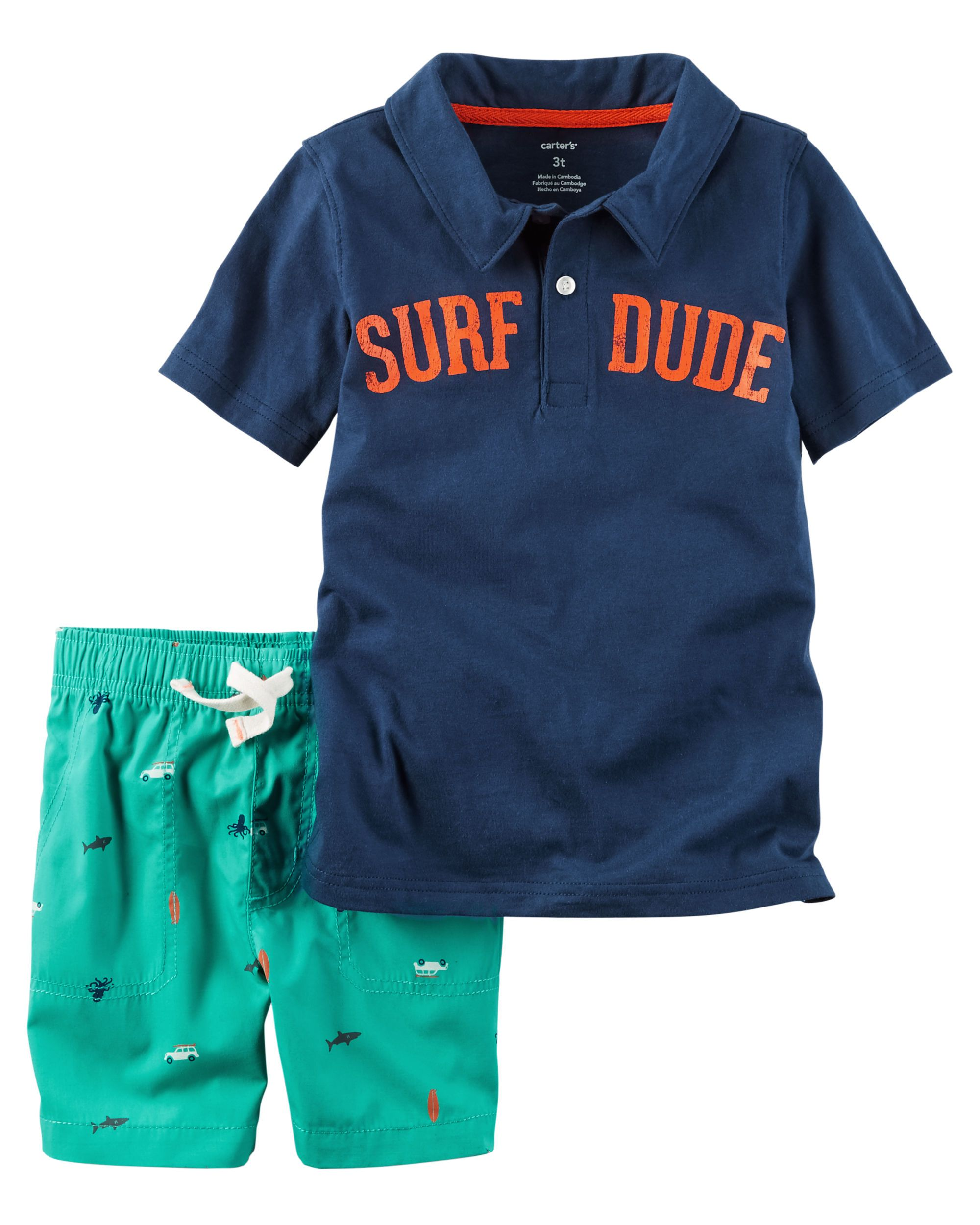 050fdeec58cb Baby Boy 2-Piece Surf Dude Polo & Poplin Short Set from Carters.com. Shop  clothing & accessories from a trusted name in kids, toddlers, and baby  clothes.