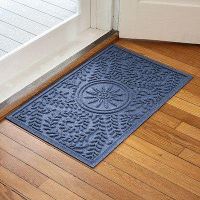 Bungalow Flooring Aqua Shield Boxwood Flower Doormat Color: Navy