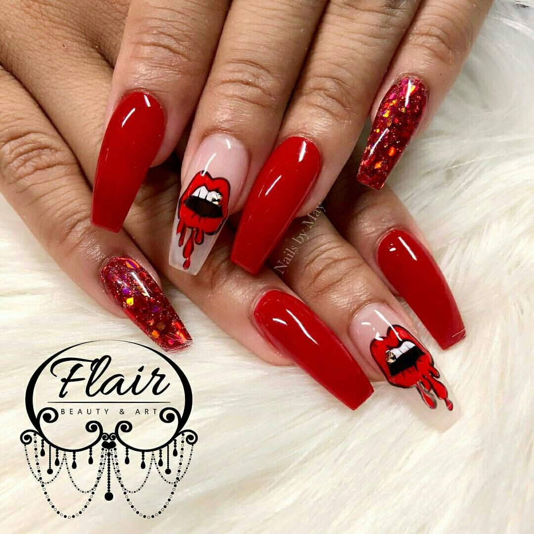 Hot These Are Sharp Ghetto Nail Art Bling Nails Red Polish