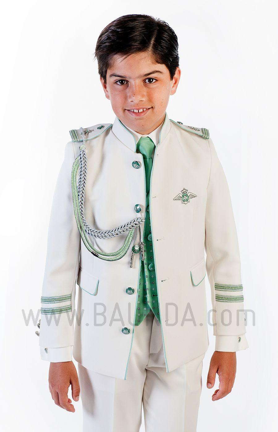 Traje de almirante verde 2018 Varones 2061 para comunión de niño con  americana de cuello mao eef5476f26a9
