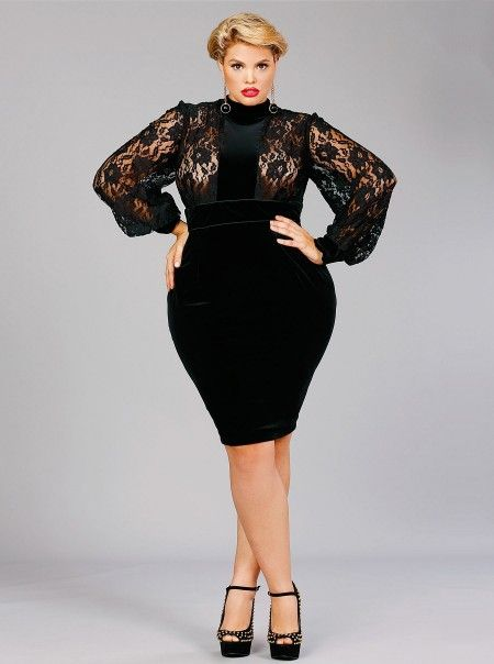 Black dress lace plus size