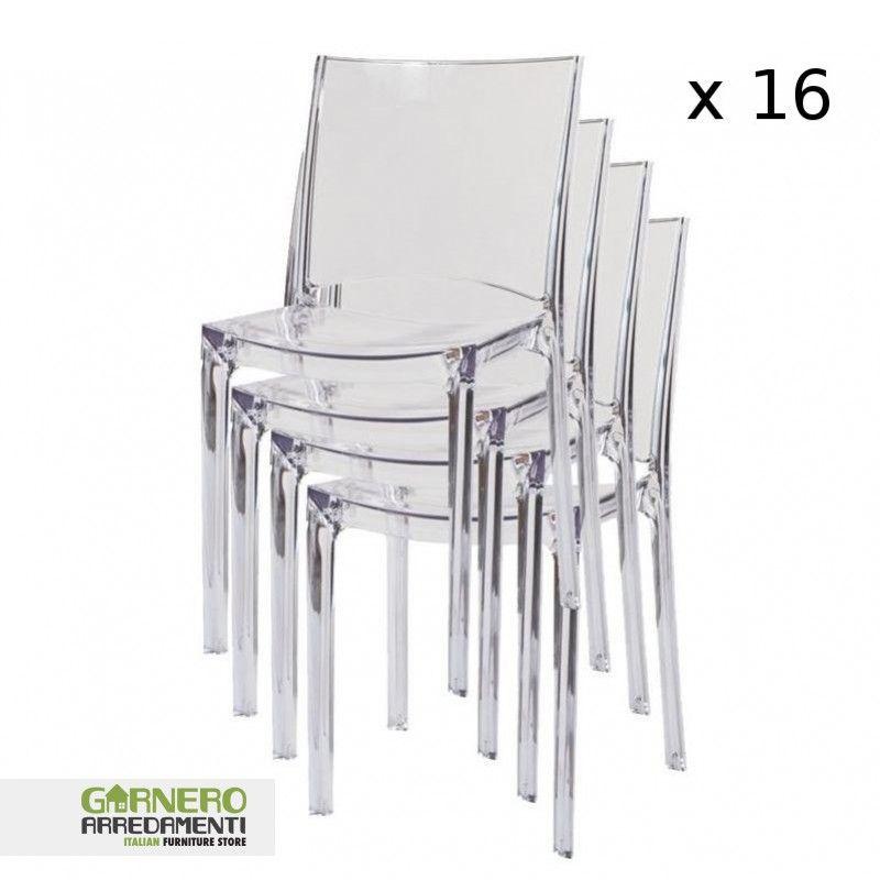 B-side pila 16 sedie policarbonato bar ristoranti Sedie trasparenti ...