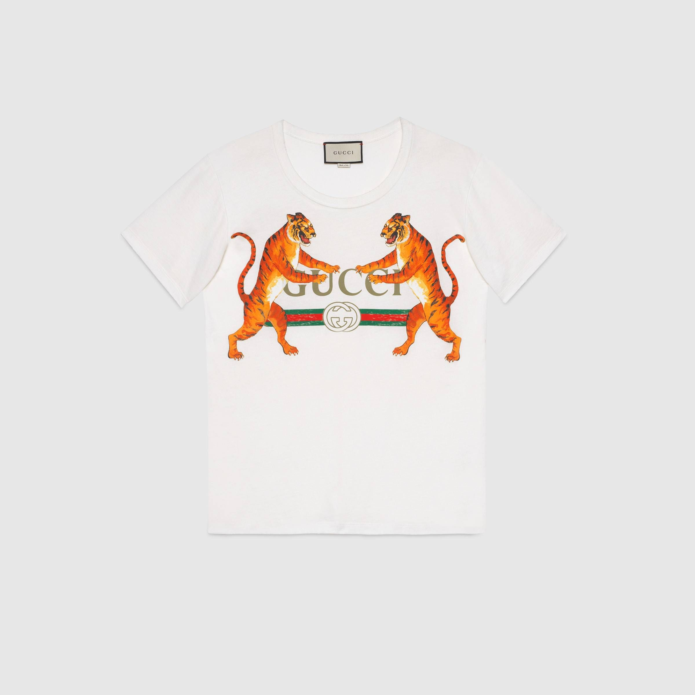 b65801416 Gucci logo with tigers T-shirt - Gucci Women's Sweatshirts & T-shirts  492347X3L169101