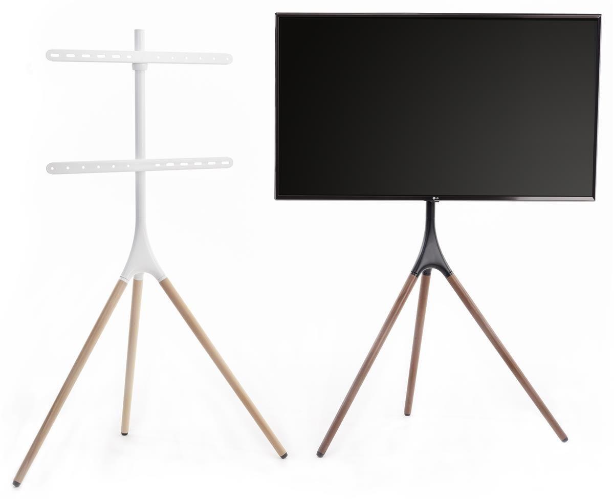 Tripod Easel Tv Stand Fits Screens 43 65 Wooden Legs 180 Swivel Black Walnut Easel Tv Stand Tv Stand Mid Century Modern Design
