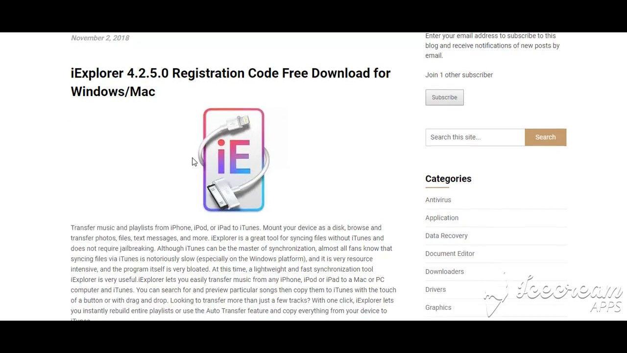 registration code for iexplorer 4