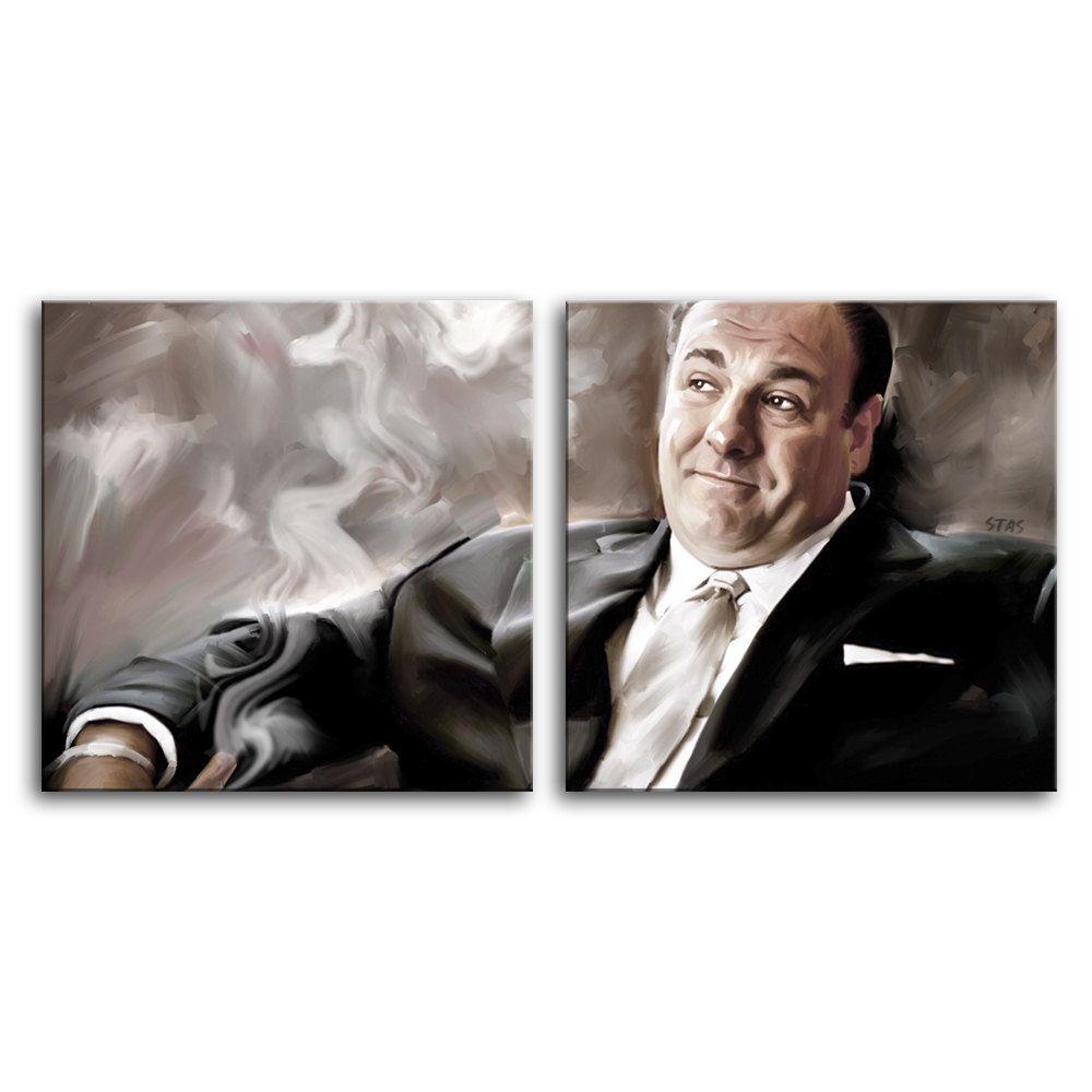 2 panel TONY SOPRANO cigar James Gandolfini painting CANVAS ART PRINT