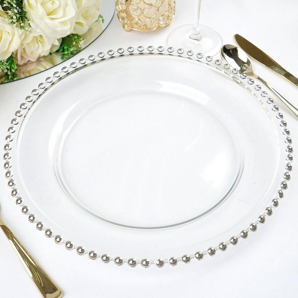 8 Pack 12 Round Silver Beaded Rim Glass Charger Plates Glass Charger Plates Glass Charger Charger Plates Wedding