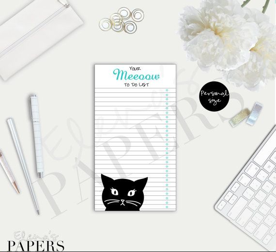 A cute Black Cat TO DO insert for your personal planner