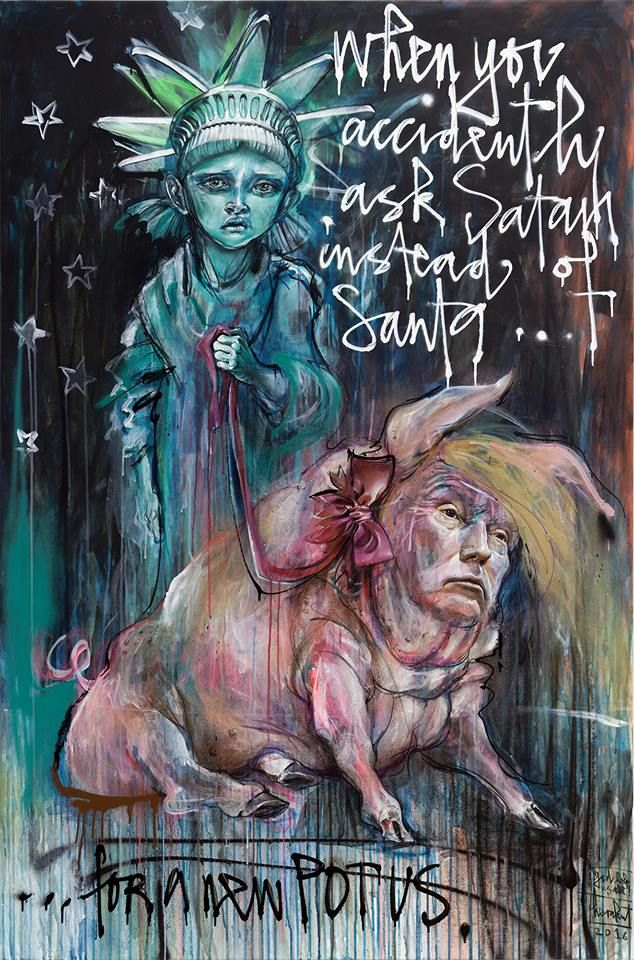 When You Accidetly Ask Satan Instead Of Santa For A New POTUS Herakut - Street Art