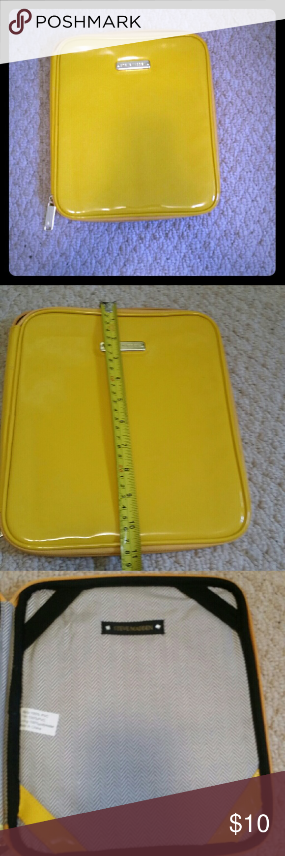 Steve Madden tablet case Bright yellow Steve Madden tablet/iPad case. Has small spot on back as shown in 4th photo. Measurements shown in 2nd photo. Gold hardware. Steve Madden Accessories Laptop Cases