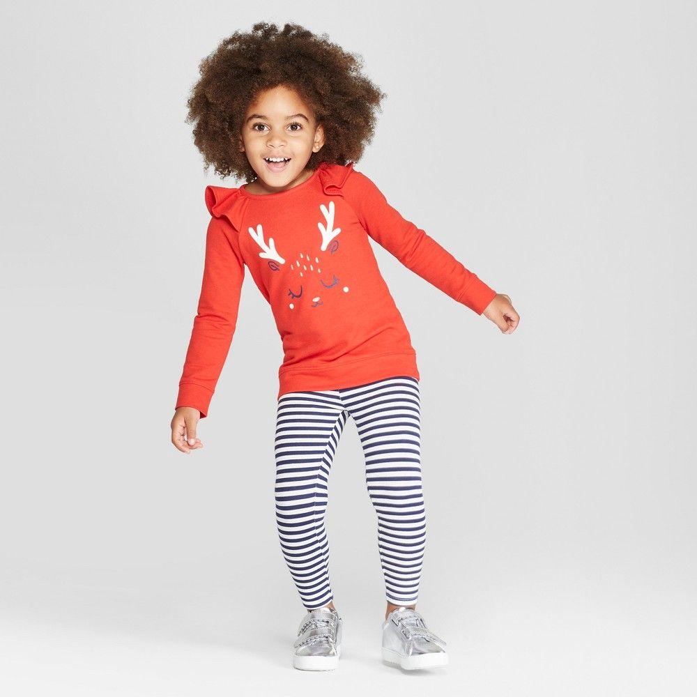 55c8eef19ae Toddler Girls  Reindeer Top and Stripe Leggings Set - Cat   Jack Red Navy  3T ...