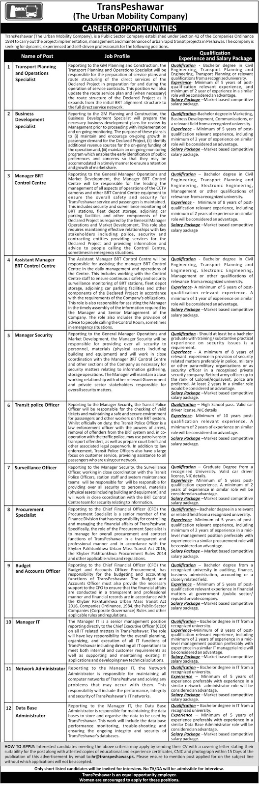 Jobs in Trans Peshawar The Urban Mobility Company, Online