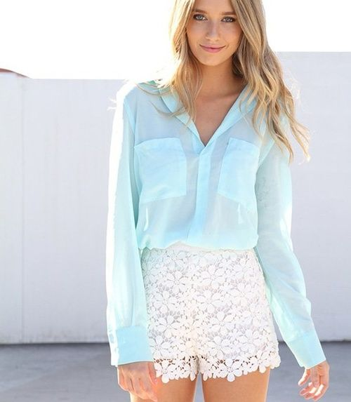 Summer & Spring Fashion / Ice blue slouch blouse