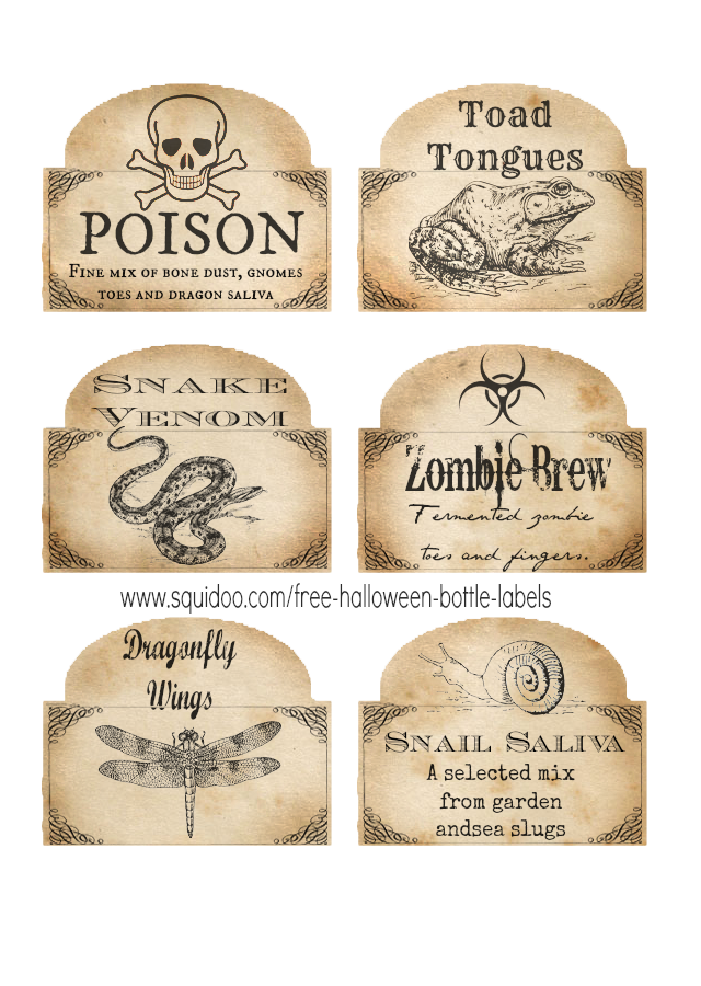 graphic regarding Free Halloween Printable called Free of charge Printable Halloween Bottle Labels and Potion Labels