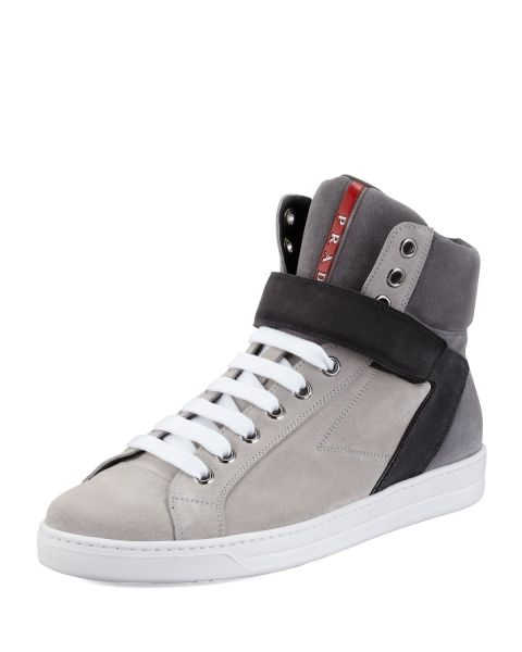 Prada Avenue Suede High Top Sneaker - Gri #prada #pradaturkiye #pradafiyat #orjinalprada