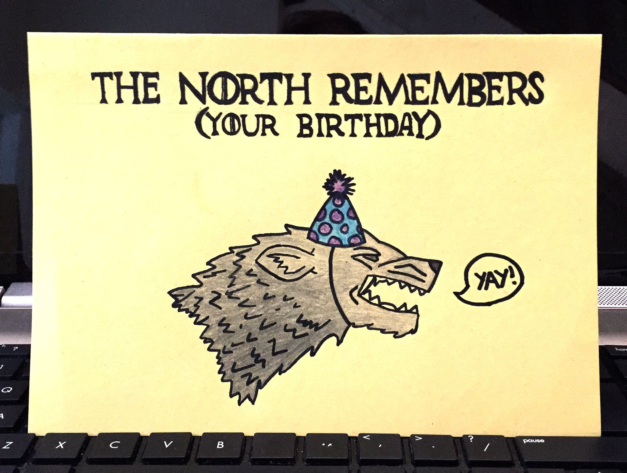 Homemade game of thrones birthday card