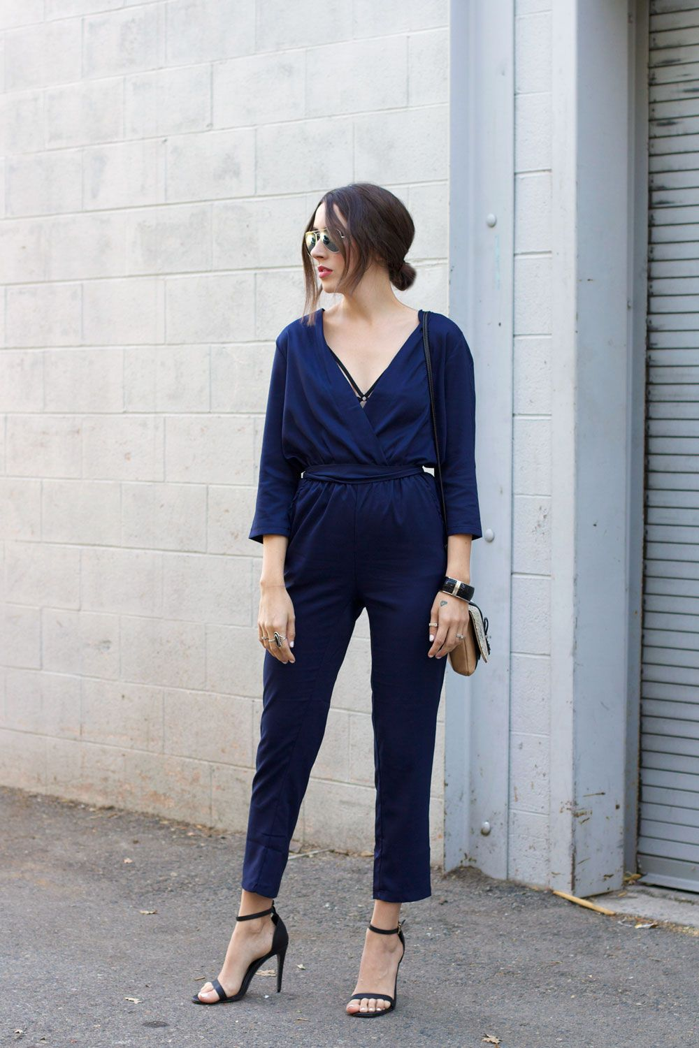 Navy Blue Jumpsuit Outfit Fashion Pinterest Outfits Jumpsuit
