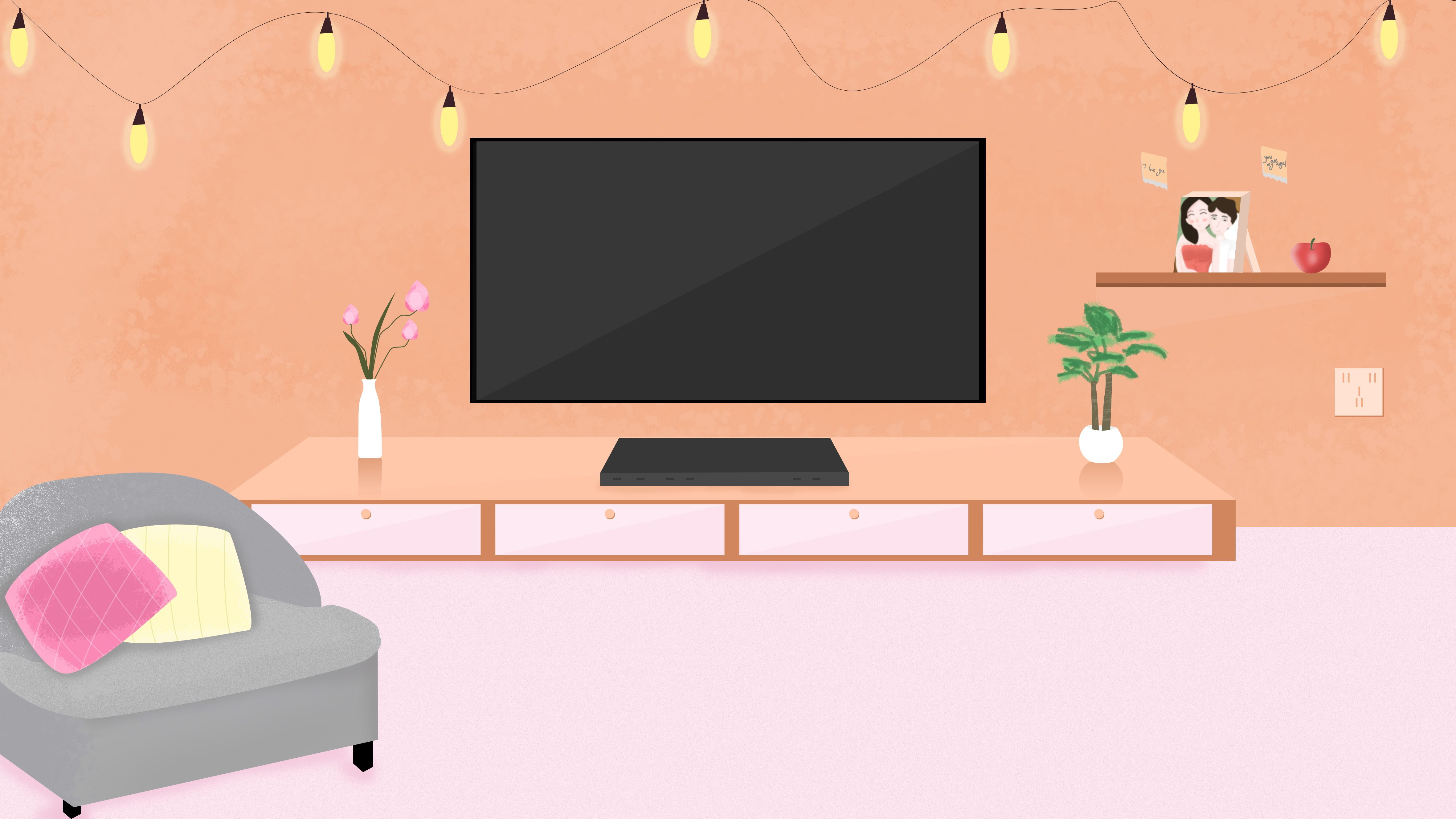 Mixed Color Cartoon Living Room Background Material Illustration Ide Ruang Kelas Kartun Latar Belakang