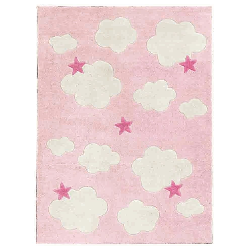 Clouds Stars Childrens Rug In Pink