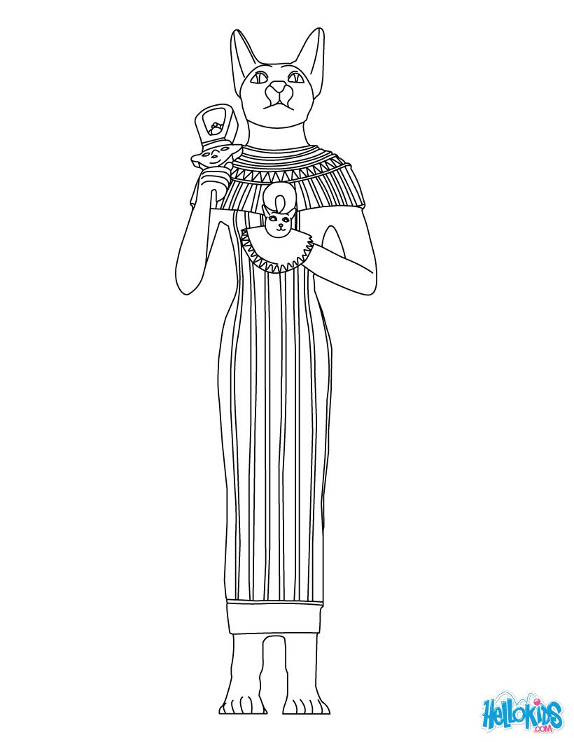 GODS AND GODDESSES of Ancient Egypt coloring pages - BASTET egyptian ...
