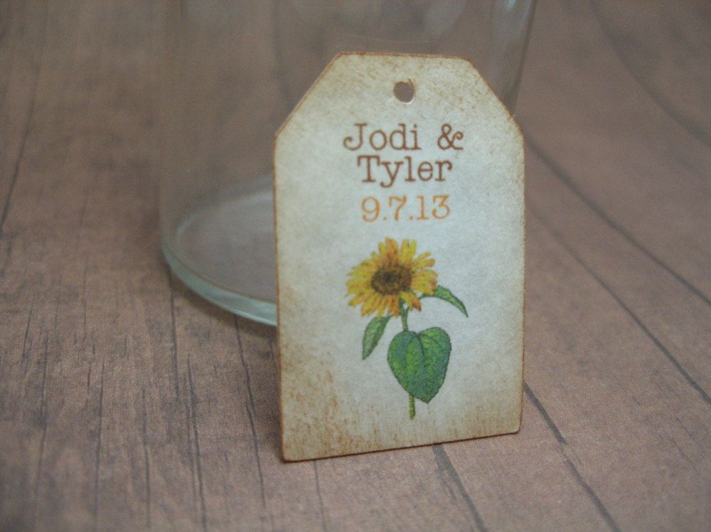 Mini Sunflower tags  wedding favor tag  by by JustScrapsNThings, $20.00