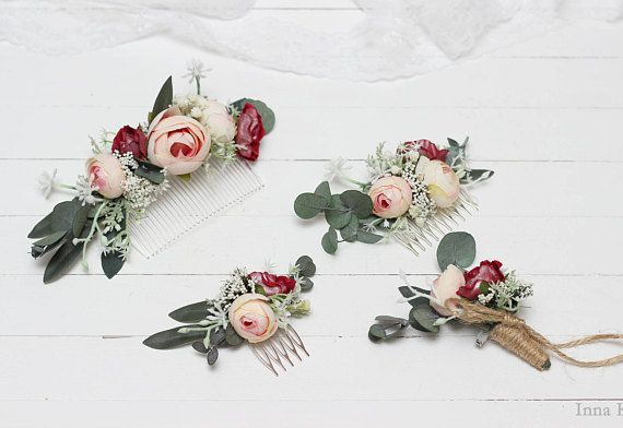 Pink bridal hair comb buttonhole flower hair clip boutonniere boho hair accessories rustic wedding gift for women woodland bridal headpiece