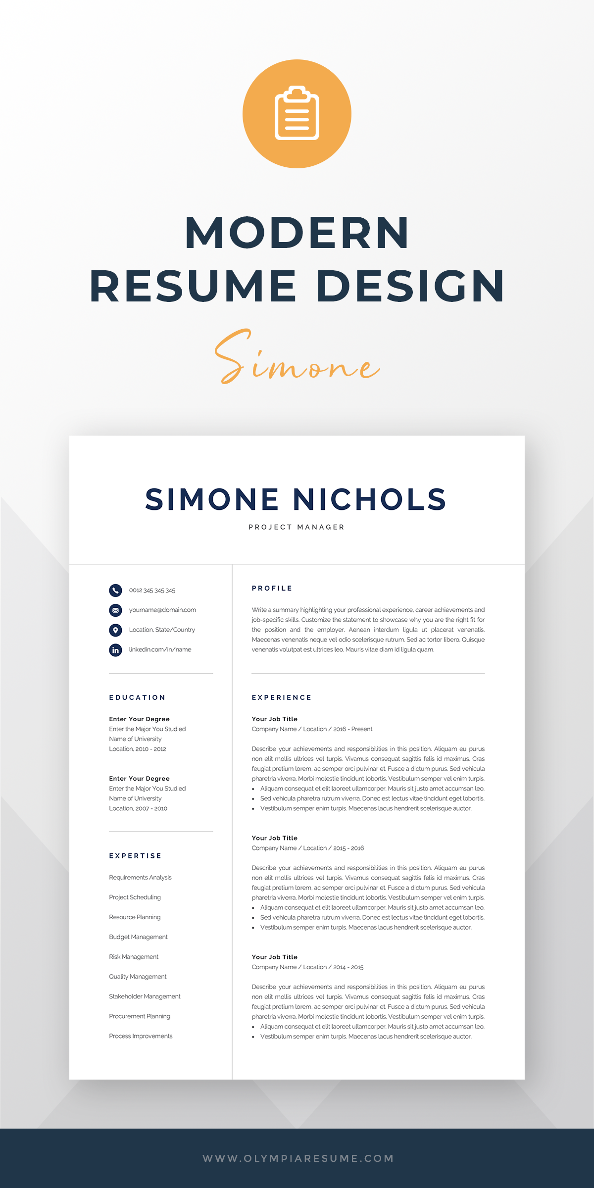 Professional Resume Template For Word Pages Executive Manager Accountant Analyst It Data Scientist Cv Instant Download Simone Resume Template Professional Modern Resume Template Modern Resume Design