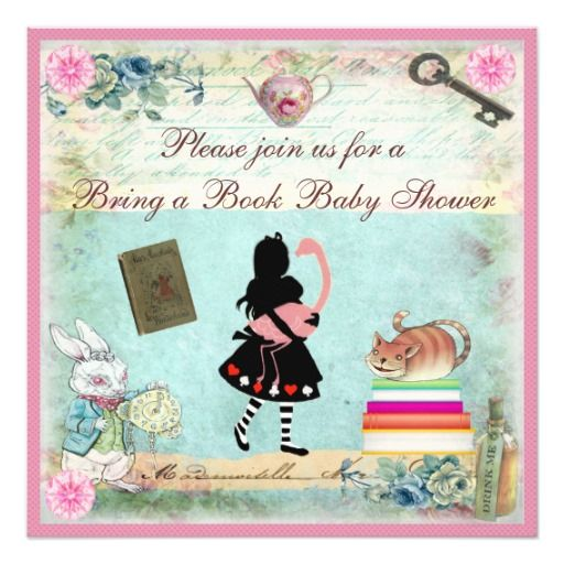 bring a book alice & flamingo pink baby shower card   pink baby, Baby shower invitations