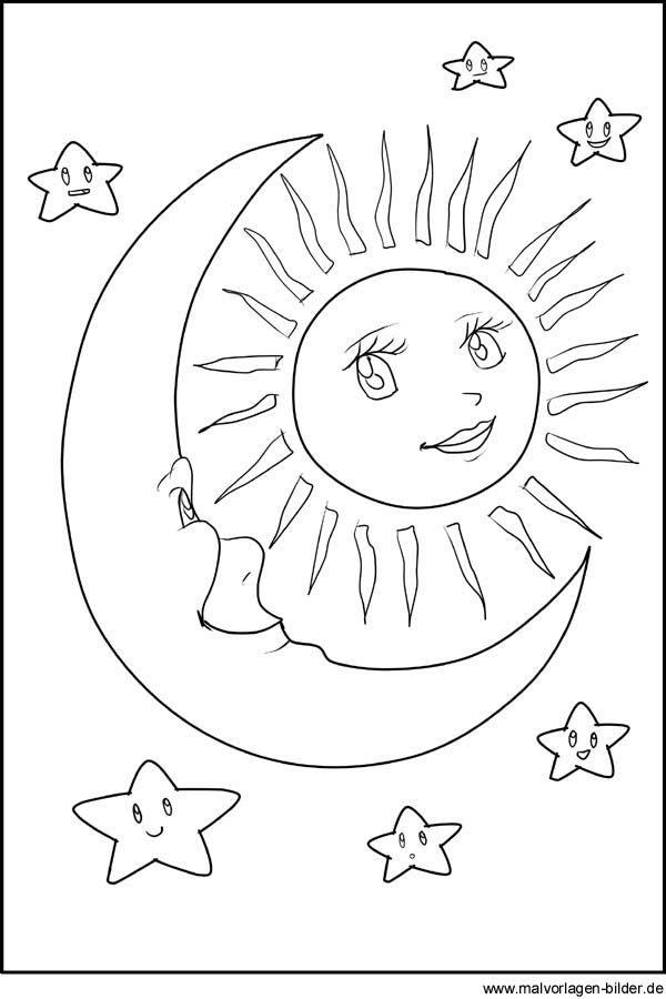 Malvorlagen - Sonne, Mond und Sterne | Printables | Pinterest ...
