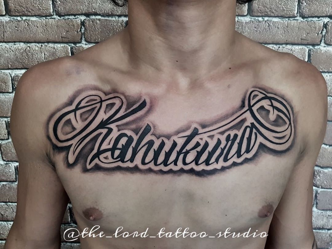 Lettering on chest done 🍀thelordstattoostudio