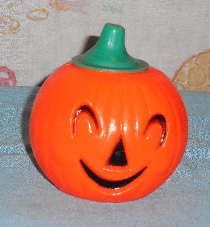 vintage halloween plastic pumpkin jack o lantern candy holder container - Plastic Pumpkins