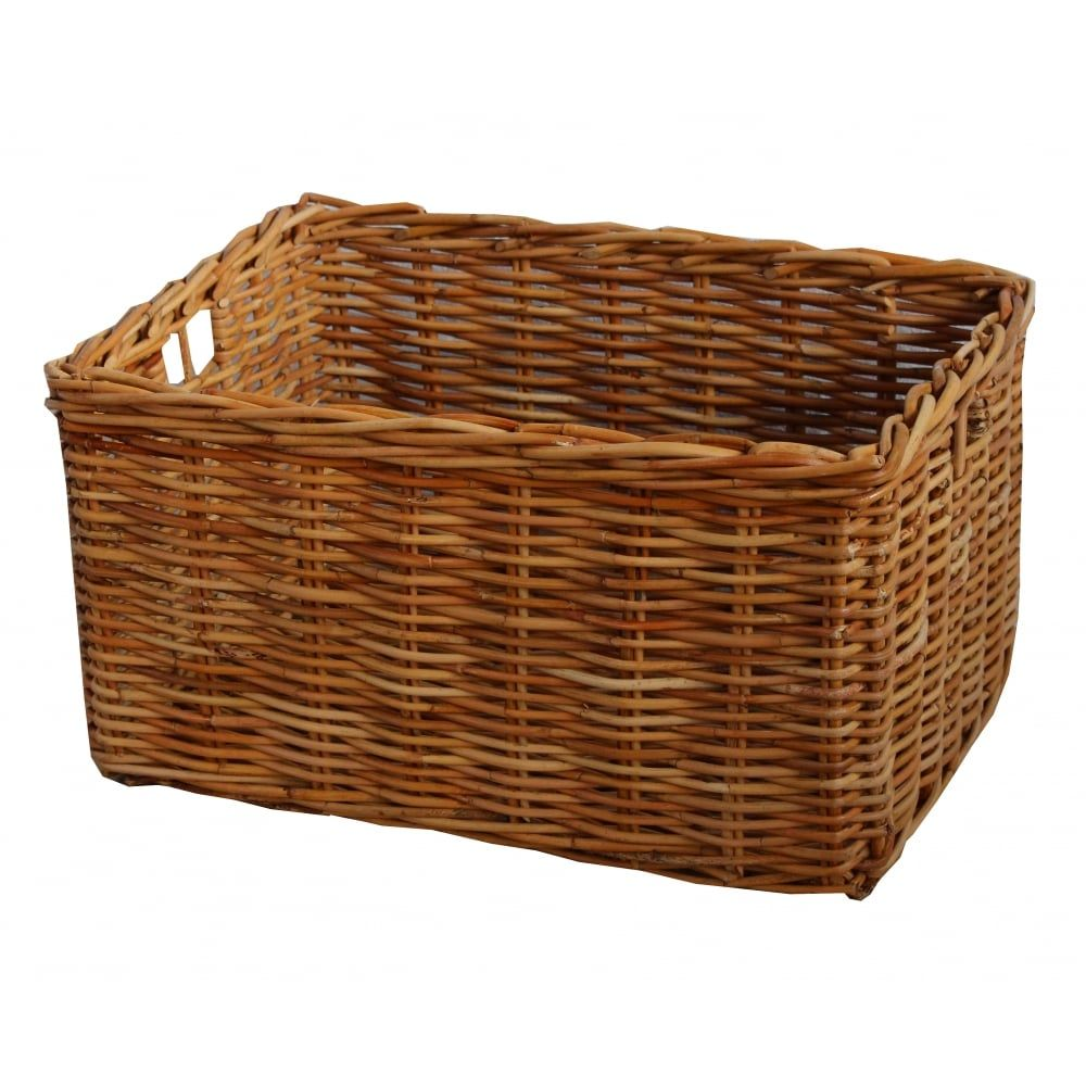 Great Rectangular Honey Rattan Deep Wicker Storage Baskets