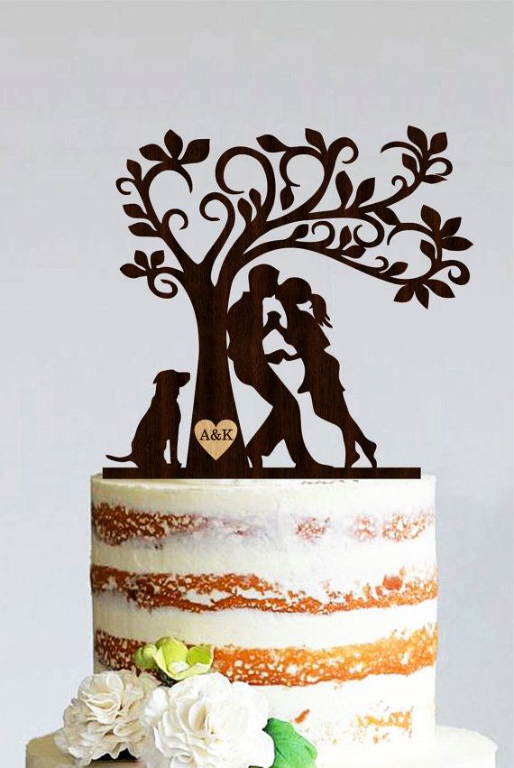 Wedding Cake Topper Bride And Groom With Dog Silhouette Cake Silhouette Cake Topper Wedding Cake Tree Rustic Cake Toppers
