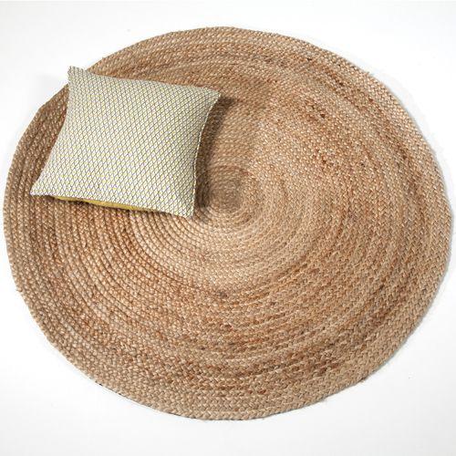 tapis rond en jute naturelle tiss main 200 cm salons rattan and apartments. Black Bedroom Furniture Sets. Home Design Ideas