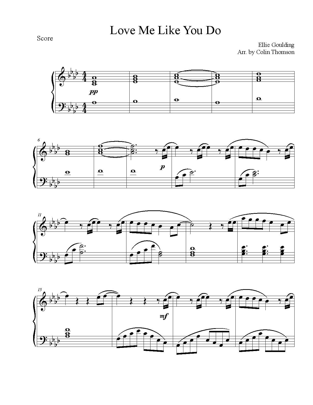 New free sheet music love me like you do by ellie goulding love me like you do by ellie goulding hexwebz Image collections