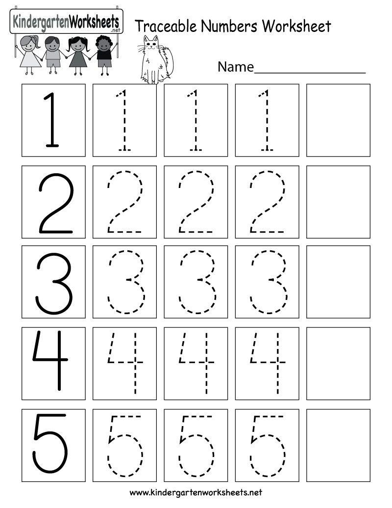 5 Number Tracing Worksheets Pdf In 2020 Kindergarten Math